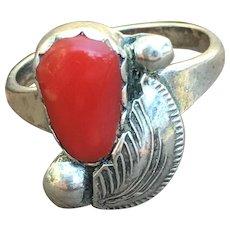 Vintage fine coral Zuni sterling ring by Carmelita Simplicio