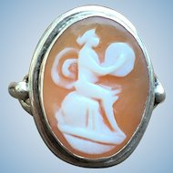 Victorian style shell cameo in 800 silver