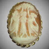 Vintage gold filled Three graces cameo brooch pin