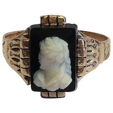 Victorian 14 karat gold onyx cameo ring