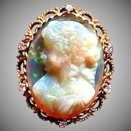 Vintage 31.22 carat Opal cameo in 18 karat gold