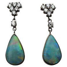 Vintage 14 karat gold opal and diamond earrings, custom made
