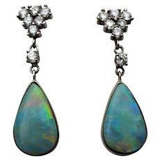 Vintage 14 karat gold opal and diamond earrings, custom made