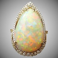 Custom 14 karat gold 17.58 ct Welo Opal ring with 1.02 CTW of diamonds