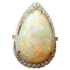 Custom 14 karat gold 17.58 ct Welo Opal ring with 1.02 CTW of diamonds