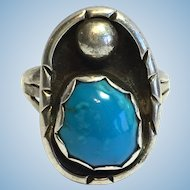 Vintage Sterling Ultra fine Bisbee turquoise ring by R & F Quam Zuni