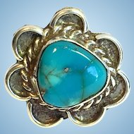 Vintage Bisbee turquoise and sterling ring.