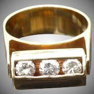 Vintage 14 karat gold .75 ctw diamond moving ring