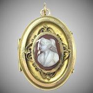 Victorian style Sardonyx cameo locket
