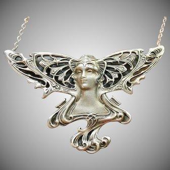 Sterling Vintage Art Nouveau style brooch converted to a necklace