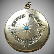 Vintage Locket with Turquoise and paste stones by W&H CO