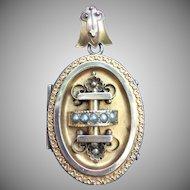 Victorian Gilded seed pearl locket