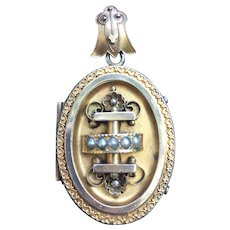 Victorian Gilded seed pearl locket