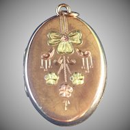 Vintage Bliss Brothers tri colored locket
