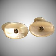Antique Edwardian Mother of Pearl and rolled gold cuff links in original box