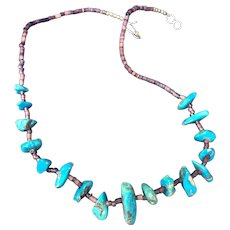 Vintage Native American Turquoise nugget and pen shell heishi necklace