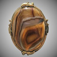 Victorian banded agate brooch 2 inch by 1.5 inch