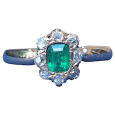 Victorian Natural Emerald and diamond ring in 14 karat gold.