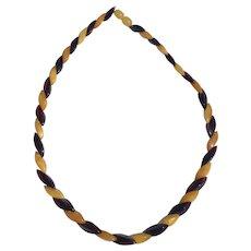 Vintage egg yolk and Baltic Amber necklace