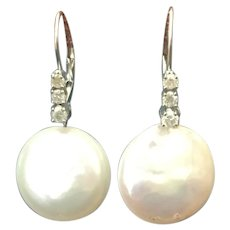 Custom diamond and coin pearl earrings 14 karat white gold