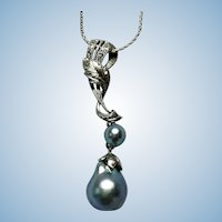 Vintage Sterling hand engraved Akoya pearl necklace