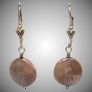Sterling Silver Freshwater coin pearl earrings