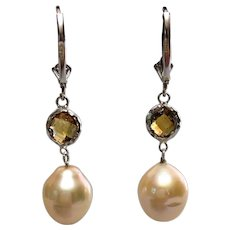 Sterling silver citrine and freshwater pearl earrings