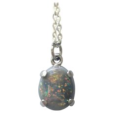 Semi-black opal pendant set in sterling silver 1.85 ct