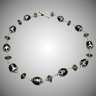Ringed Tahitian pearl and labradorite sterling silver necklace