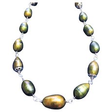 Golden green freshwater pearl necklace