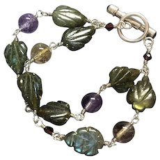 Sterling silver bracelet with labradorite, amethyst, citrine and rhodolite garnets