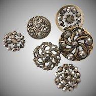 Vintage lot of six steel rivet buttons