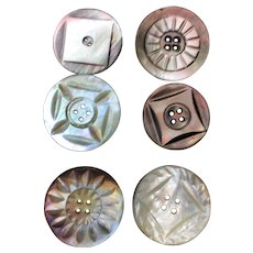 Six Vintage Carved mother of pearl buttons