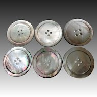 Vintage lot of six smoked mother of pearl buttons