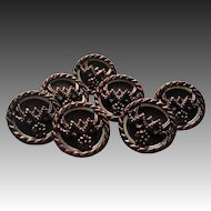Victorian burgundy luster button lot of 7 matching buttons