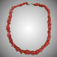 Vintage natural vermilion colored coral necklace 16 inch