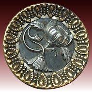 Antique 1.5 inch metal waist coat button