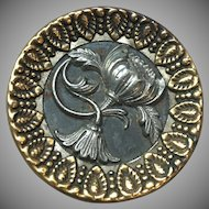 Antique 1.5 inch metal waist coat button