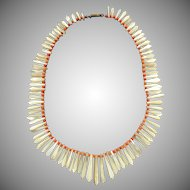 Victorian Mother of pearl and coral necklace