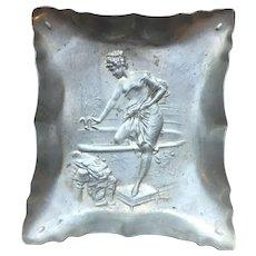 Vintage Art Nouveau style repousse aluminum ashtray