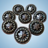 Vintage metal star sparkle matching button lot of 8