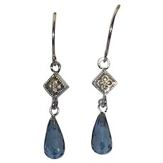 14 karat white gold diamond and London blue topaz briolette earrings