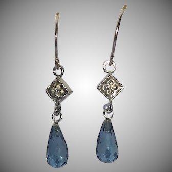 14 karat white gold diamond and London blue topaz briolette earrings