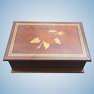 Vintage inlaid wooden jewelry box