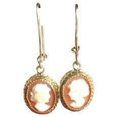 Vintage 14 kt gold hand carved cameo earrings