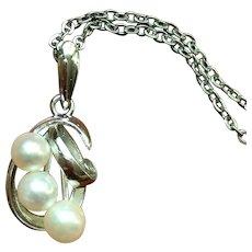 Vintage 3 cultured pearl sterling necklace