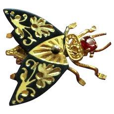 Vintage Damascene fly pin