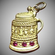 Vintage 14 kt gold intricate beer stein from Schaefer beer