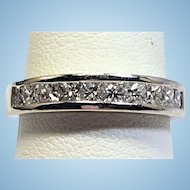 Vintage 1.00 CTW princess cut diamond band in 14 kt white gold