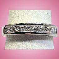 Vintage 1.00 CTW princess cut diamond band in 14 kt white gold